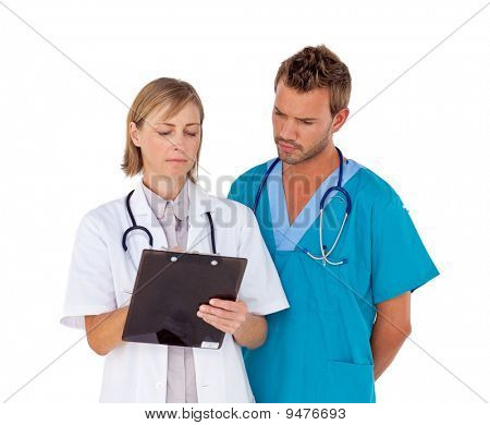 Doctors Stand Together Analyzing Results