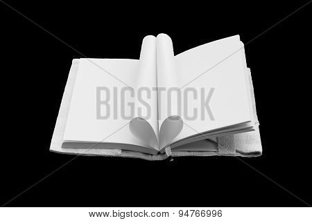 Heart Shaped Book Isolated On Black Background.