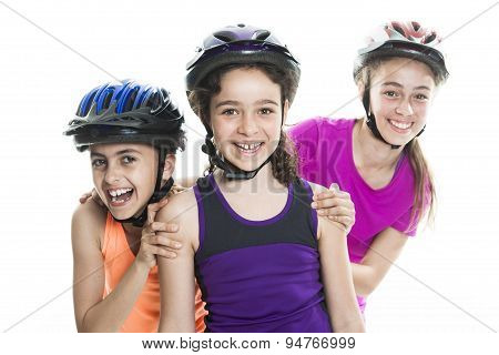 portrait of girl on rollers skating isolated on white background