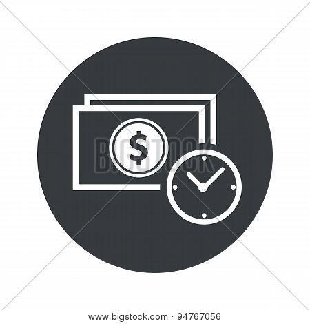 Monochrome round dollar time icon