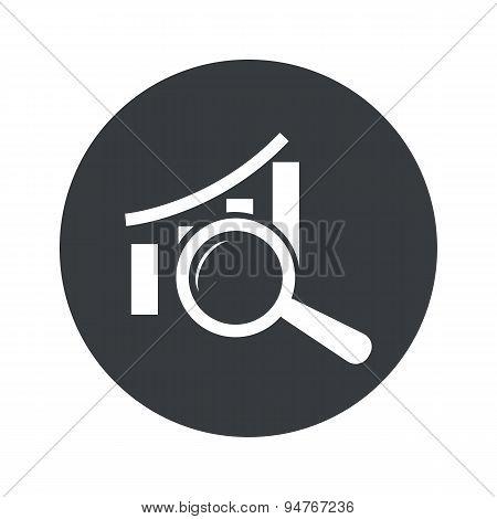 Monochrome round graphic examination icon