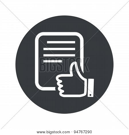 Monochrome round good document icon