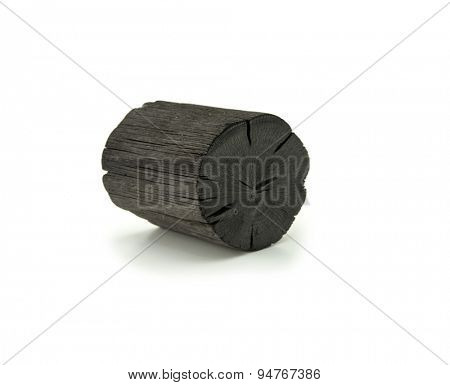 Natural wood charcoal Isolated on white. Kishu binchotan, japanese traditional white charcoal or hard wood charcoal, isolated on white background.