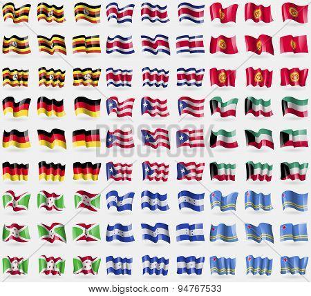 Uganda, Costa Rica, Kyrgyzstan, Germany, Puerto Rico, Kuwait, Burundi, Honduras, Aruba. Big Set Of 8