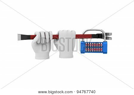 Hands In White Gloves With A Crowbar Hack The Padlock. 3D Render. White Background.