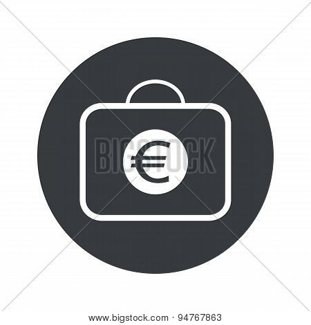 Monochrome round euro bag icon
