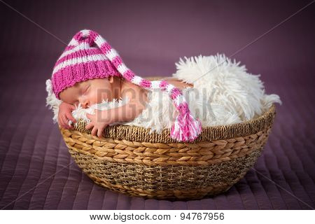 Newborn baby girl portrait inside the wicker basket