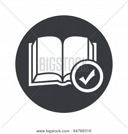 Monochrome round select book icon