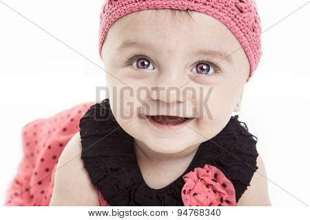 cute little baby girl pink