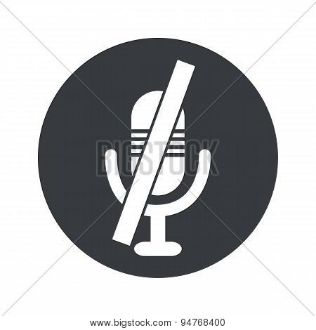 Monochrome round muted microphone icon