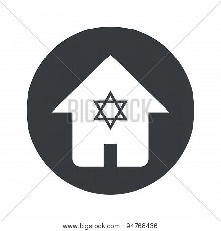 Monochrome round jewish house icon
