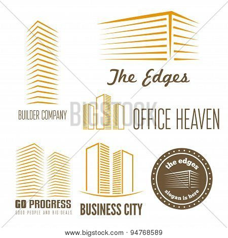 Set of logo, sticker, emblem, label and logotype elements for building company or business