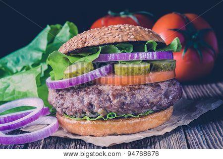 Classic Burger. Vintage style.