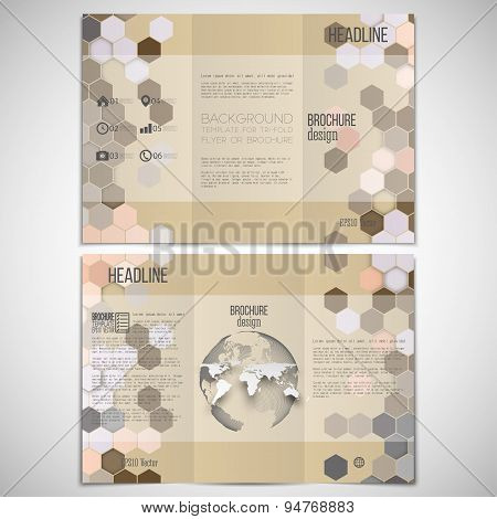 Vector set of tri-fold brochure design template on both sides with world globe element. Hexagonal mo