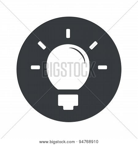 Monochrome round light bulb icon