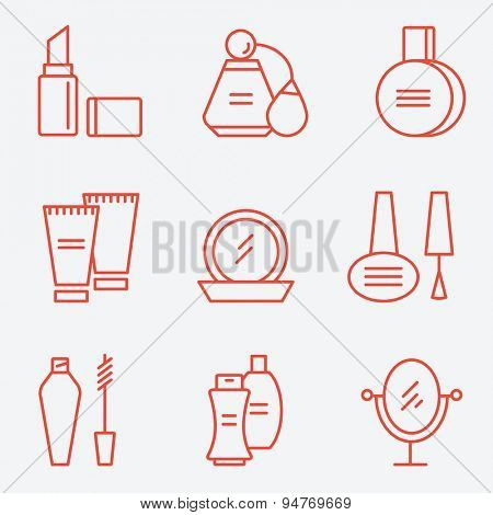 Cosmetics set, flat design, thin line style