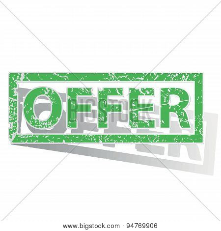 Green outlined OFFER stamp