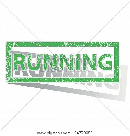 Green outlined RUNNING stamp