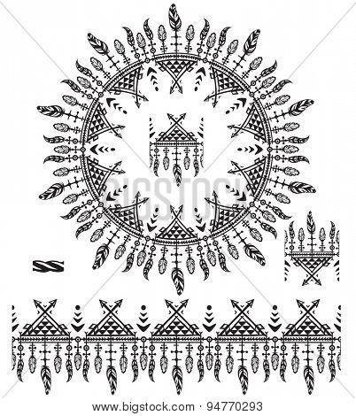 Pattern brushes with feathers