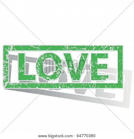 Green outlined LOVE stamp
