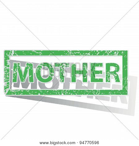 Green outlined MOTHER stamp