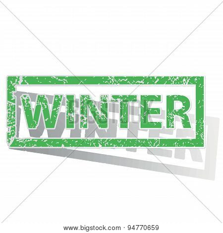 Green outlined WINTER stamp