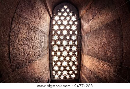 Window With Sunglow In Qutub Minar