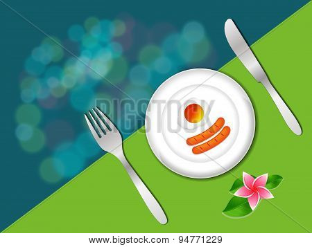 Breakfast In Plate With Fork And Knife On Green Color, Breakfast Vector