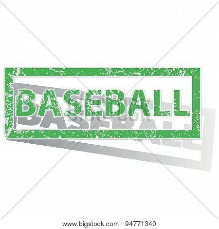 Green outlined BASEBALL stamp