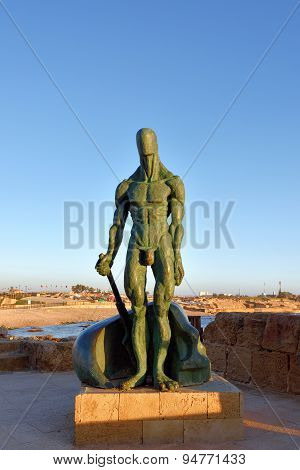 Sculpture Of Man At Caesarea, Israel
