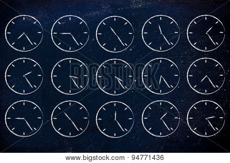 Series Of Clocks Showing Time Passing By