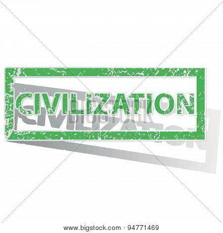 Green outlined CIVILIZATION stamp