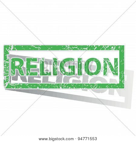 Green outlined RELIGION stamp