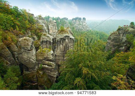Bridge Named Bastei In Saxon Switzerland Germany On A Sunny Day