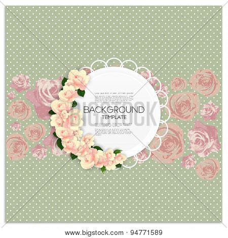 Invitation card with place for text and pink flowers over green dotted background, canvas texture. V
