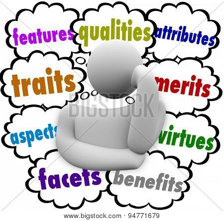Features, qualities, attributes, traits, merits, aspects, virtues, facets, benefits words in thought clouds above a thinking person
