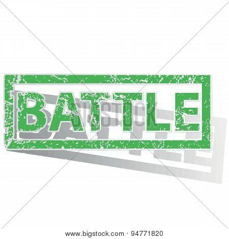 Green outlined BATTLE stamp