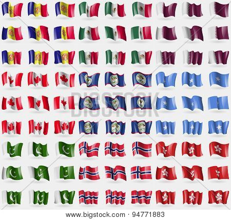 Andorra, Mexico, Qatar, Canada, Belize, Somalia, Pakistan, Norway, Hong Kong. Big Set Of 81 Flags. V