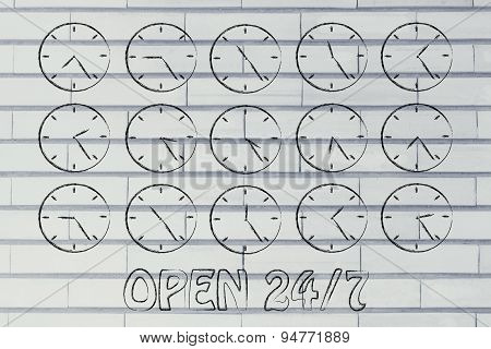 Series Of Clocks Showing Time Passing By, Concept Of Shops Open 24/7