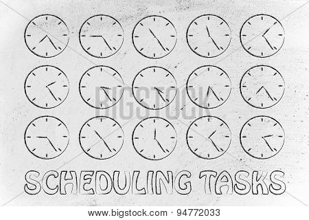 Series Of Clocks Showing Time Passing By, Concept Of Scheduling Tasks