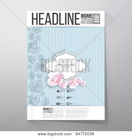 Floral background with place for text and pink flowers over linear blue background. Brochure or flye