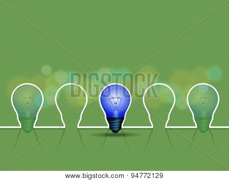 light bulb with green background vector