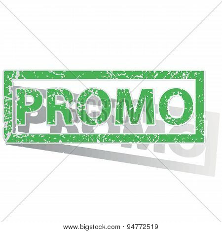 Green outlined PROMO stamp