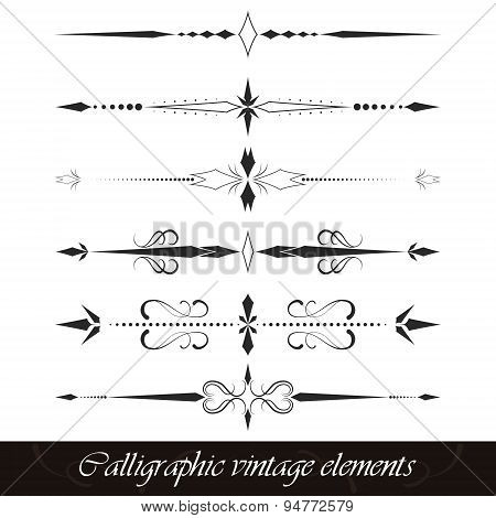 Set of calligraphic vintage elements