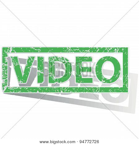 Green outlined VIDEO stamp