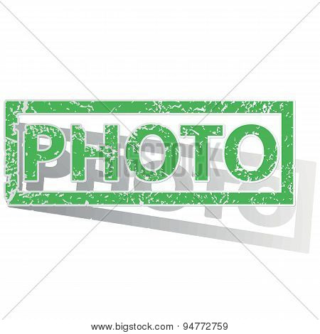 Green outlined PHOTO stamp