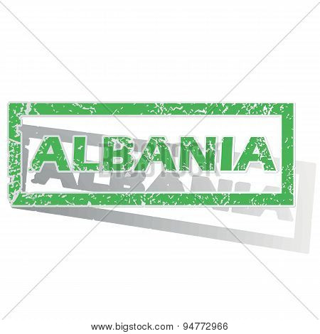 Green outlined Albania stamp