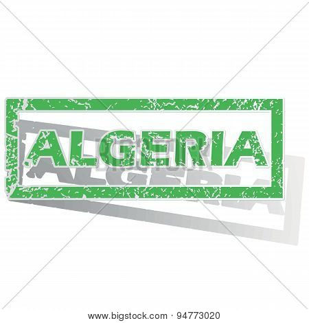 Green outlined Algeria stamp
