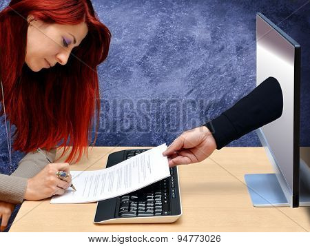 sexy redhead businesswoman signing online contract