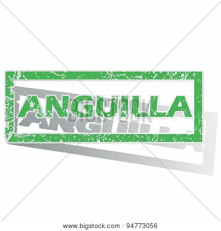 Green outlined Anguilla stamp